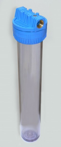 """Porte filtre transparent taille 20"""" avec inserts raccordements ¾ pouces 20x27 - Entre2-eaux"""